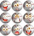 Baseball with facial expression vector image vector image