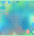 blue green poster with abstract shapes vector image vector image