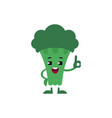 broccoli showing ok gesture and smiling - happy vector image vector image