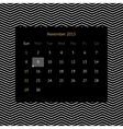Calendar page for November 2015 vector image vector image