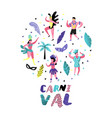 carnival doodle with dancing character people vector image vector image