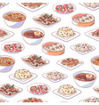 chinese cuisine dishes on white background vector image vector image