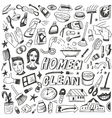 Clean home cleaning tools - doodles set vector image