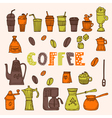 Collection of various sketches coffee doodles vector image