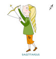 cute girl in the form of zodiac sign sagittarius vector image