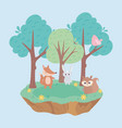 cute little rabbit fox bird and squirrel animals vector image vector image