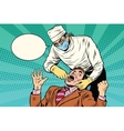 Dentistry the doctor pulls out a bad tooth vector image vector image