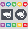 Diving mask icon sign A set of 12 colored buttons vector image