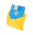 Envelope with floppy disk icon cartoon style vector image vector image