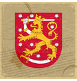 Finland coat of arms on an old sheet of paper vector image vector image