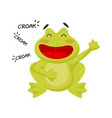 flat icon of cheerful croaking frog funny vector image