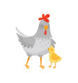 flat icon of gray mother hen with her vector image vector image