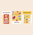 food stickers card tasty vector image