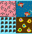 funny cartoon colorful bird pattern set seamless vector image