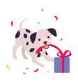 funny dog with present box adorable spotted puppy vector image vector image