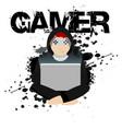 gamer black player background image vector image vector image