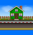 green house with wooden fence and road vector image