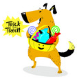 halloween dog character cute pet with basket of vector image vector image