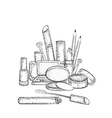 Hand drawn cosmetics collection vector image