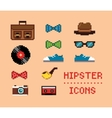 Hipster Vintage Pixel Icons vector image