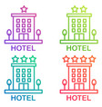 hotel icon isolated simple hostel line vector image