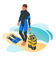 isometric scuba diver after dive is beached vector image
