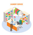 laundry reception interior with receptionist vector image vector image