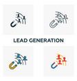 lead generation icon set four elements in vector image vector image