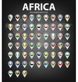 Map markers with flags - Africa Original colors