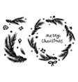 merry christmas fir wreath and branch vector image