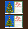 merry christmas poster with tree decorated toys vector image