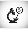 microscope with virus ob white background vector image vector image