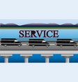 minibuses of service rushing over the bridge vector image