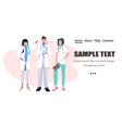 mix race doctors team standing together medical vector image vector image