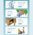 online delivery isometric landing page vector image vector image