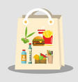 paper shopping bag with food items vector image
