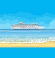paradise beach of the sea with cruise ship vector image vector image