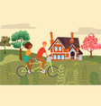 people composition couple riding bike together vector image vector image