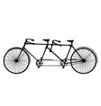 retro silhouette tandem bicycle isolated vector image vector image