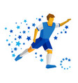 running football player with ball vector image vector image