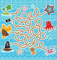 sea animals boats pirates cute sea objects vector image vector image