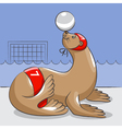 Seal - the water polo player vector image vector image