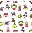 set christmas theme symbols seamless pattern vector image vector image