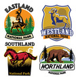 set of wild life badge collection vector image vector image