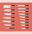 set professional knives isolated on red vector image vector image