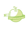 silhouette delicious apple fruit with tap vector image vector image