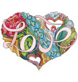 sketchy doodle heart with word love vector image vector image