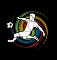 soccer player kicking a ball action vector image vector image