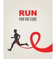 Sport Man Running Red Ribbon AIDS Awareness vector image