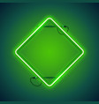 square rhombic green neon frame vector image vector image